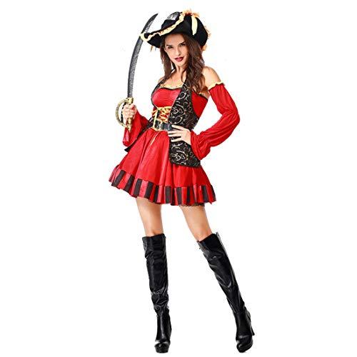 Karibik Kostüm Frauen Der Fluch - HOOLAZA Frauen Rot Rollenspiel Fluch der Karibik Kostüm Sexy Buccaneer Tube Cosplay Kleid 5 Stücke