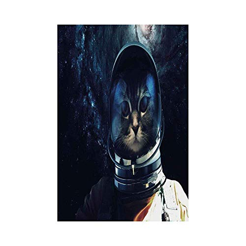 Liumiang Eco-Friendly Manual Custom Garden Flag Demonstration Flag Game Flag,Space Cat,Astronaut Kitty Extragalactic Mission in Orbit Terestial Image,Dark Blue White and Orangeec décor