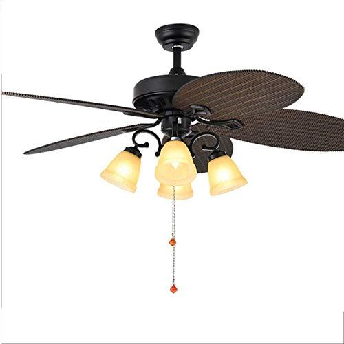 DuDuDu Ventilador americano luz 52 pulgadas creativo retro ventilador de techo mudo...