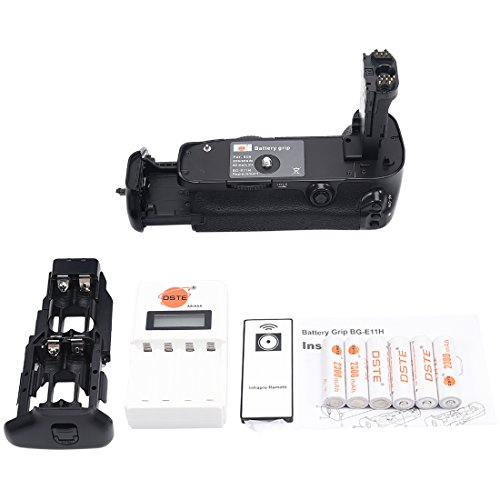 DSTE Pro IR Remote BG-E11 Vertical Battery Grip + 6 Pack AA Rechargeable Batteries With NI-MH NI-CD AA & AAA Battery Charger For Canon EOS 5D Mark III 5D3 5DS 5DSR SLR Digital Camera As LP-E6 LP-E6N