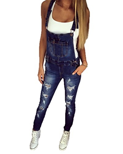Dooxi Damen Ripped Jeans Latzhose Nützlich Slim Jumpsuit S