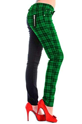 Grün-karo-hose (Banned Tartan Karo Emo Punk Geteilte Beine Grün Enge Hose Für Damen - (S - 36))