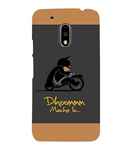 Takkloo Dhoom macha le ( Bat in Black, Super hero on black bike, man wearing black mask, Cartoon, Grey Background) Printed Designer Back Case Cover for Motorola Moto G4 Plus  available at amazon for Rs.399