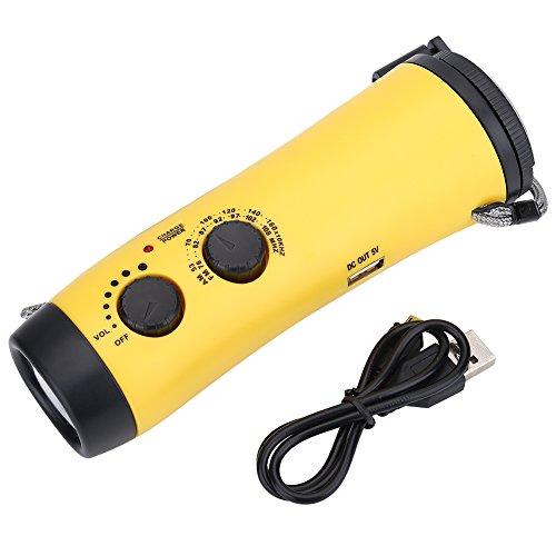 Alomejor d'urgence Radio Lampe de Poche Multifonctions, à manivelle LED d'urgence Radio Lampe de Poche Lampe Torche Chargeur de téléphone Camping Randonnée