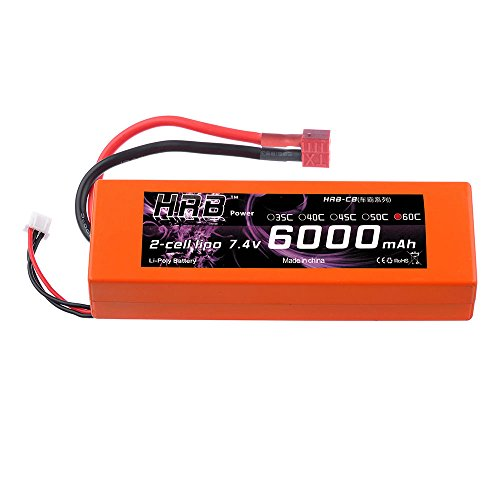 HRB LiPo Akku 6000mAh 7.4V 60C 2S Deans Stecker Pack for FPV Racing Quadcopters Diverse Racing Cars Helikopter Flugzeuge und Modellboote (Akku Car Lipo)