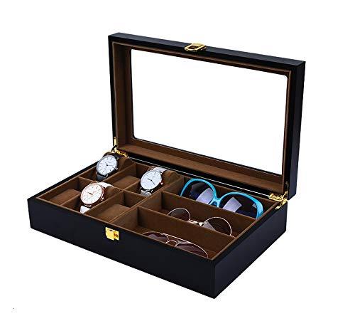 Mkuha Uhrenbox & Brillenbox mit Schaufenster aus Glas für Aufbewahrung und Präsentation von 6 Uhren & 3 Brillen Sonnenbrillen, Black