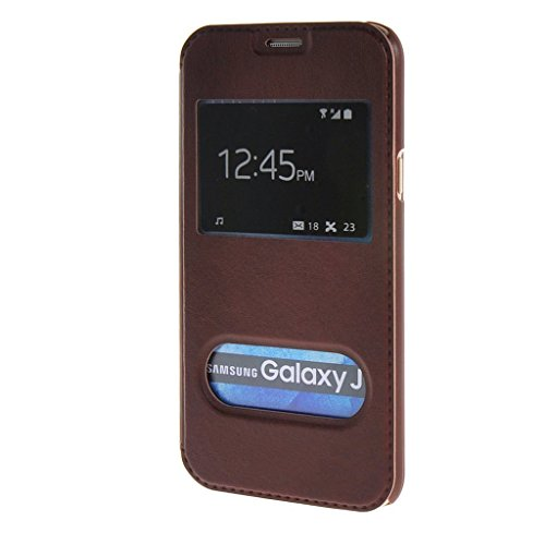 Excelsior Premium Leather Window View Flip Cover Case For Samsung Galaxy On8 - Brown