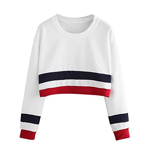 Ulanda Damen Frauen Teenager Mädchen Langarm Pullover Sweatshirt Streifen Crop Top Langarmshirt Streetwear Herbst Winter T-Shirt Tops Bluse Oberteile Freizeit Baumwolle Hemden (Weiß, S)