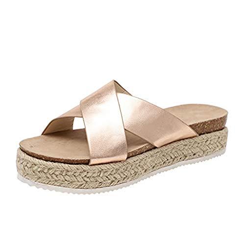 SHE.White Damen Leopard/Einfarbig Plattform Hausschuhe Sommer Flache Unterseite Sandalen Pantoletten Schlappen Glitzer Komfort Sandalen (39, Gold) -