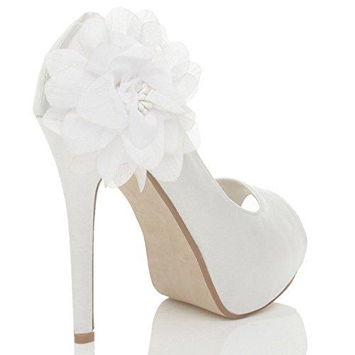Femmes talon haut bout ouvert fleur mariage soirée sandales chaussures taille Blanc