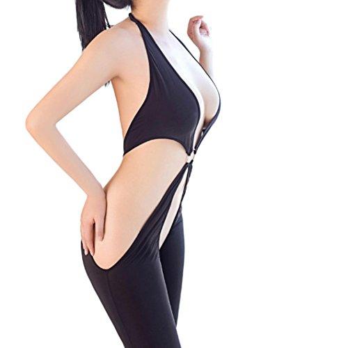 MCYs Damen Lingerie Bodystockings Bodys mit offenem Schritt aus Mesh Hohe elastische overall Dessous Negligee Overalls Nachtwäsche Lingerie Unterwäsche