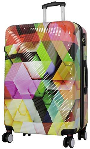 Trendyshop365 Polycarbonat Reisekoffer Trolly mit Buntem Druck und 3D Wellen-Kofferschalen 100 Liter 4 Doppel-Rollen Kofferschloss -