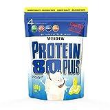 WEIDER Protein 80 Plus Eiweißpulver, Kokosnuss, Low-Carb, Mehrkomponenten Casein Whey Mix für Proteinshakes, 500g