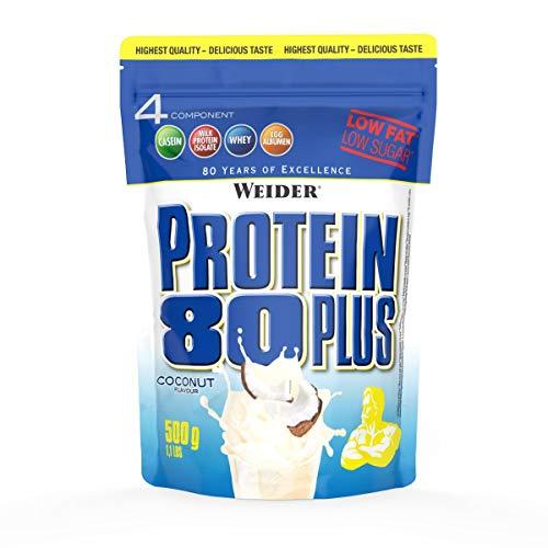 Leben Vanille Vitamine (WEIDER Protein 80 Plus Eiweißpulver, Kokosnuss, Low-Carb, Mehrkomponenten Casein Whey Mix für Proteinshakes, 500g)