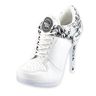 MISSY ROCKZ Street ROCKZ Bequeme High Heels im Sportschuh Look weiß 10,5 cm Absatz, Farbe:weiß, Größe:EU 39 / UK 6.5 / US 8.5