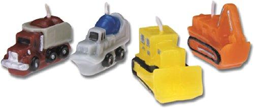 Preisvergleich Produktbild 4 Minikerzen * BAUSTELLE * für Party und Geburtstag // Kerzen Kuchen Torte Deko Candle Bagger Radlader Bob Mischer LKW Truck Bauarbeiter Baumeister