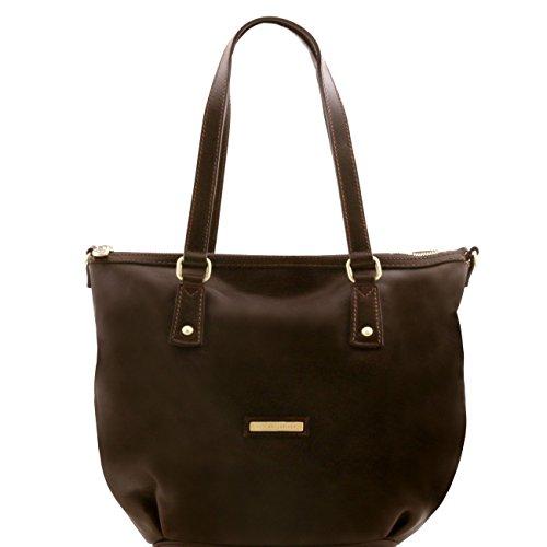 Tuscany Leather Olga - Sac shopping en cuir - Grand modèle Noir Sacs à bandoulière en cuir Marron foncé
