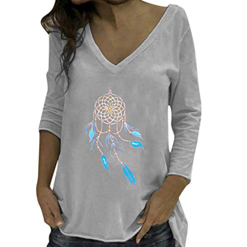 HOUMENGO Mujer Camiseta Manga Larga,Camiseta Estampada De Atrapasueños Cuello V Blusa Tops otoño Invierno Ropa