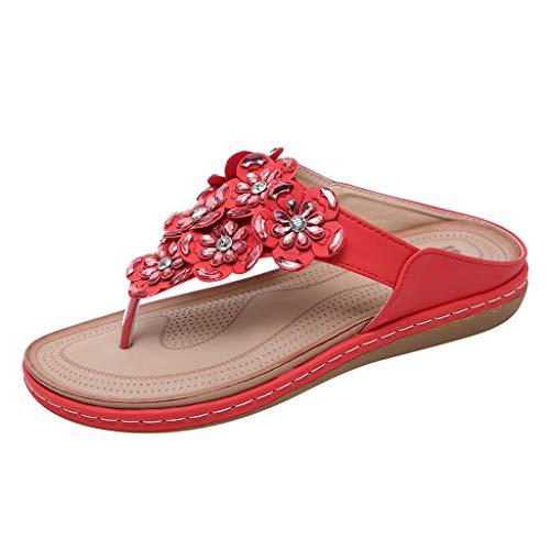 MakefortuneFrauen Sommer Böhmen Low Wedge Sandalen Post Thong Flip Flops Hausschuhe Bequeme Strand Schuhe für Mädchen Breite Passform mit Strass Perlengröße Prada Sling