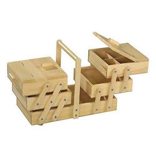 Nähkästchen aus Massivholz, übersichtlich durch fünf verschiedene Fächer, zum zusammenklappen und tragen geeignet