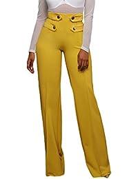 Mujeres Pantalones De Pierna Ancha Cintura Alta Corte Acampanado Pantalones  Acampanados Botones Embellecer 376be573297