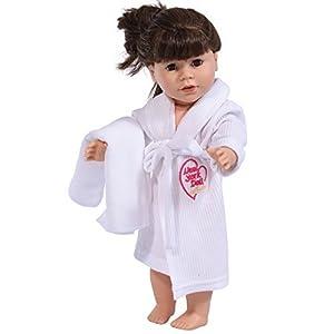 The New York Doll Collection- Bata 45 cm Adapta a American Girl Dolls-Albornoz de muñeca y cinturón de Corbata con Toalla (Blanco) (2042275)