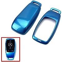 Carcasa protectora de alta calidad para llave inteligente de 3/4 botones de 3/4 de pulgada para remover 2017, 2018, Mercedes-Benzmodel, Clase C AMG Clase E Clase S CLA GLA HYBRID W213 (azul)