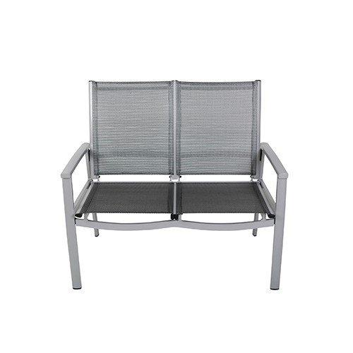 Dreams4Home 2er Gartenbank 'Duo' Sitzbank Bank Aluminium 2 Sitzer silber schwarz 106 x 96 x 63 cm stapelbar max 200 kg Gartenmöbel Terrasse Balkon Outdoor