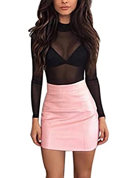 Minifalda de lápiz para mujer, cintura alta, elástica, bodycon básico, Rosa, Medium