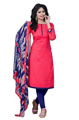 Dress ( Shoponbit Pink Color Cotton Jacquard Plain Unstiched Casual Wear Dress Material )