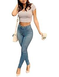 Jardin Rêvé Femme Pantalon Printemps Jeans Mince Taille Haute Denim Leggings Collant