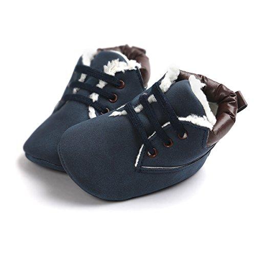 Baby Schuhe Für 0-18 Monate , Auxma Babyjungen weiche lederne Schuhaufladungen Prewalker Schuhe (13(12-18M), Marine(Winter))