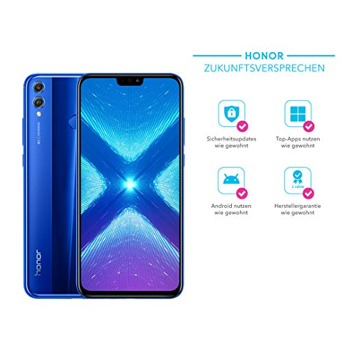 Honor 8X Smartphone BUNDLE (16,5 cm (6,5 Zoll), Dual-Kamera, Dual-SIM, Fingerabdrucksensor, Android 8.1) + gratis Honor Flip Protective Cover [Exklusiv bei Amazon] - Deutsche Version