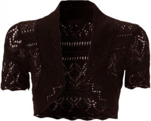 nouvelles dames tricot crochet filet de pêche boléro haussements d'épaules culture brown