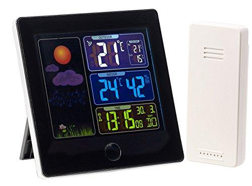 infactory Barometer: Funk-Wetterstation, Außensensor, Farbdisplay, Funkuhr, Wecker, schwarz (Wetterstationen mit Farb Displays)