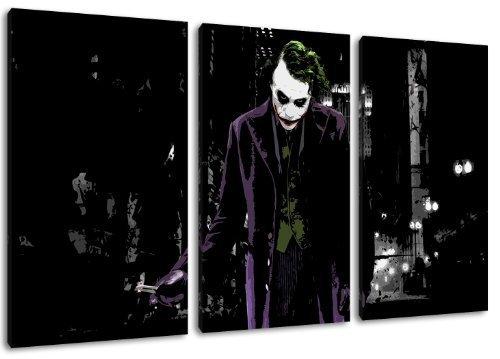 Dark Motif Joker, 3 pièces sur toile (taille totale: 120x80 cm), l'art de haute qualité d'impression que murale. Moins cher que une peinture à l'huile! ATTENTION NO affiches ou affiche!