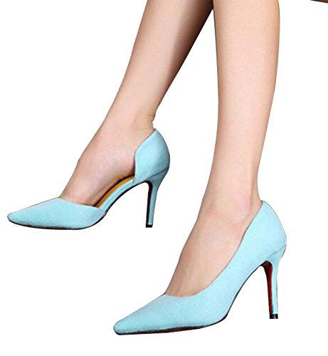 Wealsex Escarpins Suédé PU Cuir Bout Pointu Talon Moyen Aiguille 8 CM Sexy Mode Classique Femme Bleu