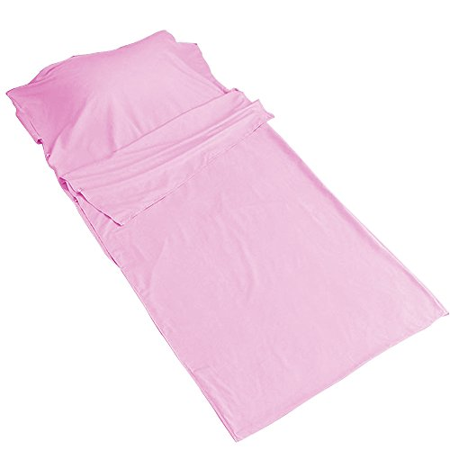 Acxeon Travel and Camping Sheet Sleeping Bag Liner, Single XL in 115*210CM, Comfortable and Soft for Camping Travel Outdoor Picnic Hostels Trains (Pink)