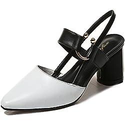 Damen Blockabsatz Spitz Zehen High Heels Sandaletten Pumps mit Schnalle Bequeme Anti-Rutsche Schuhe