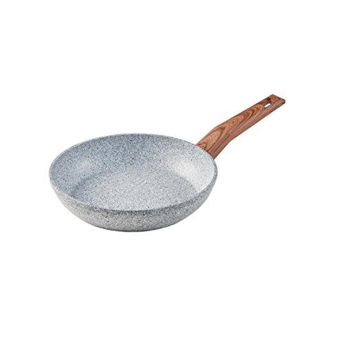 axentia 127053 Aluminium-Bratpfanne, Cucina Marbella,ILAG- Granitec - antihaftbeschichtet, Mamoroptik, Griff Holzoptik, marmor, 16 cm