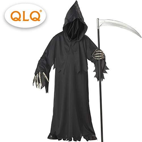 GAOGUAIG AA Hochwertige Sensenmann Kostüm mit Hut Masken Skelett Hände Kostüme Erwachsene Männer Halloween Cosplay Skelett Kostüme SD (Color : Onecolor, Size : Onesize) (Sensenmann Für Erwachsene Kostüm Plus)