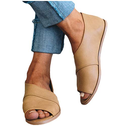 Übergroßer Sandalen für Damen/Dorical Frauen Sommer Retro-Peep-Toe-Sandalen mit seitlicher Abdeckung Damenschuhe Mode einfache PU-Leder Schuhe Rutschfest 35-43 EU Ausverkauf