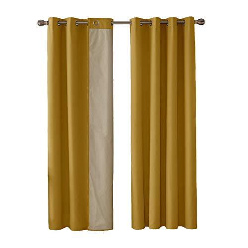 Deconovo tende termiche isolanti in tessuto oxford con rivestimento tende per casa moderna 100% poliestere 135x240 cm giallo due pannelli