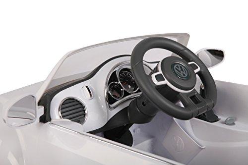 RC Auto kaufen Kinderauto Bild 6: Jamara 460220 - Ride-on VW Beetle weiß 27MHz 6V - Leistungsstarker Antriebsmotor und Akku, Ultra-Gripp Gummiring am Antriebsrad, LED-Scheinwerfer, Fahrertür lässt sich öffnen, Hupe und Sound*