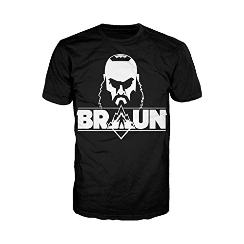 WWE Braun Strowman Logo Head Official Men's T-Shirt (Black) (X-Large) -