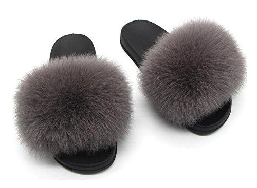 Twgdh sandali infradito in pelliccia sintetica flip flop da donna per interni slip on mega fluffy sandali con ciabatte,darkgray,37