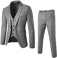 بدلة رجالية بقصة ضيقة من 3 قطع، تخفيضات من فانكل على بليزر البدلات برز واحد بتصميم رجال الأعمال مناسبة لحفلات