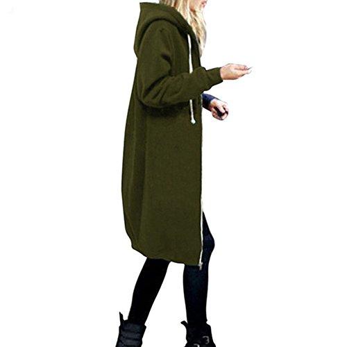 Damen Übergröße Winterjacke Mantel - hibote Herbst Lang Jacke Oversized Cardigan Hooded Parka Kapuzenjacke Trenchcoat Outerdoor Coat S-5XL