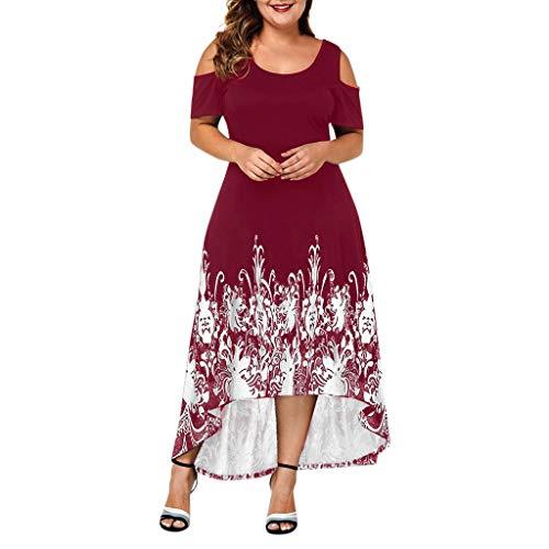 Yvelands Damen Kleid Elegant Lässig Plus Size O-Ausschnitt Einfarbig Schulterfrei Kurzarm Kleid(Red1,L) Cashmere Coat Petite