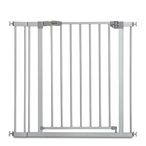 Hauck Stop'n Safe 2 Treppengitter, inkl. 9  cm Verlängerung, 84-89  cm, ohne Bohren, erweiterbar mit Verlängerungen von 9  cm und 21  cm, kombinierbar mit Y-Spindeln, beidseitig schwenkbar, silber